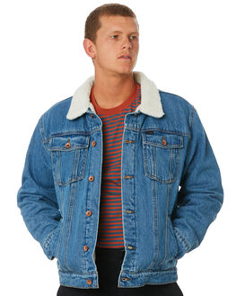 FADED INDIGO MENS CLOTHING BRIXTON JACKETS - 03218FINDI