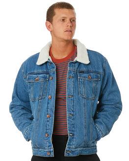 FADED INDIGO MENS CLOTHING BRIXTON JACKETS - 03218FINDI
