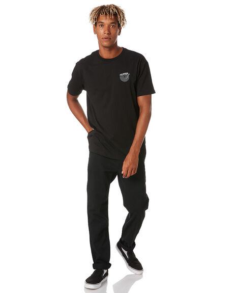 BLACK MENS CLOTHING HUFFER TEES - MTE02S4202BLK