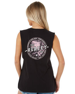 BLACK WOMENS CLOTHING HURLEY SINGLETS - AGSICW-010