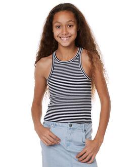 NAVY WHITE KIDS GIRLS EVES SISTER SINGLETS - 9900099STR