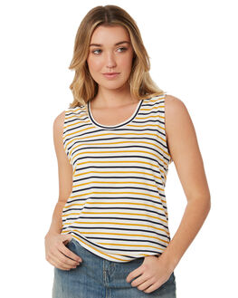 NAVY WHITE MUSTARD WOMENS CLOTHING SILENT THEORY SINGLETS - 6008526STR2