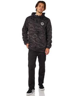 BLACK MENS CLOTHING HUF JACKETS - JK00139BLK