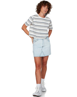 ANTIQUE WHIT WOMENS CLOTHING RVCA TEES - RV-R292683-AWT