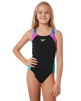 BLACK RAYS SPLICE KIDS GIRLS SPEEDO SWIMWEAR - 4245B-7639MUL