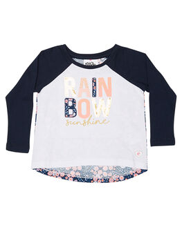 WHITE & NAVY KIDS TODDLER GIRLS EVES SISTER TEES - 8090006WHT