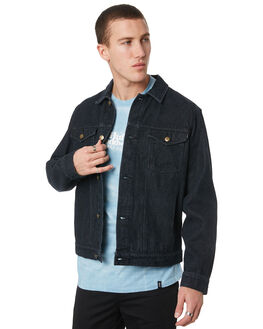 BLACK MENS CLOTHING HUF JACKETS - JK00142-BLK