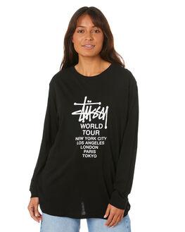 BLACK WOMENS CLOTHING STUSSY TEES - ST107005BLK