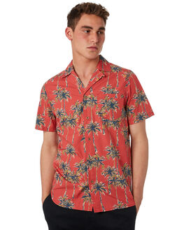WASHED RED MENS CLOTHING BANKS SHIRTS - WSS0075WRD