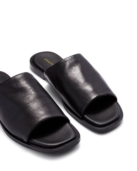 BLACK WOMENS FOOTWEAR JUST BECAUSE SLIDES - SOLE-JB0528BLK