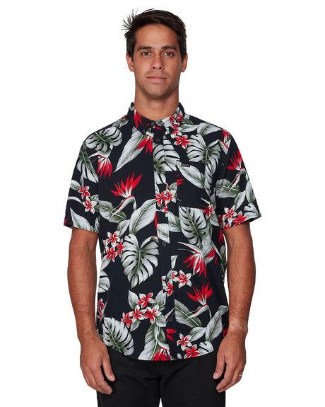 BLACK MENS CLOTHING RVCA SHIRTS - RV-R307187-BLK