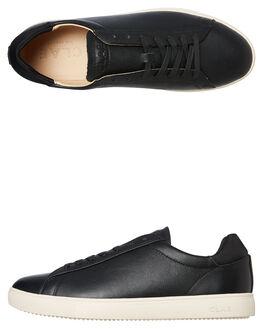 BLACK MILLED LEATHER MENS FOOTWEAR CLAE SNEAKERS - CLA01297BML