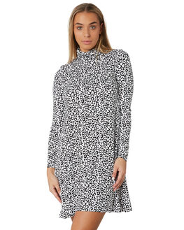 WHITE LEOPARD WOMENS CLOTHING BETTY BASICS DRESSES - BB519W19LEO