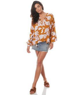 RUST FLORAL WOMENS CLOTHING RUE STIIC FASHION TOPS - SO1722PTOBF