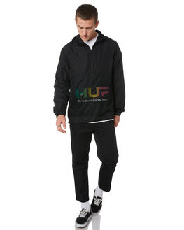 BLACK MENS CLOTHING HUF JACKETS - JK00147-BLK