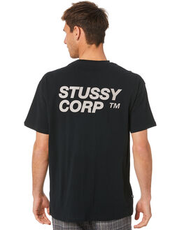 BLACK MENS CLOTHING STUSSY TEES - ST007003BLK