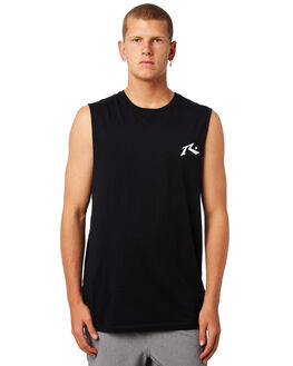 BLACK MENS CLOTHING RUSTY SINGLETS - MSM0245BLK