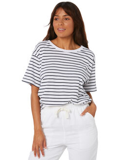 NAVY STRIPE WOMENS CLOTHING NUDE LUCY TEES - NU23261SNVSTP