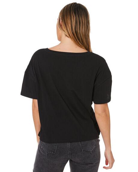 BLACK WOMENS CLOTHING HURLEY TEES - GTSSDBLG010