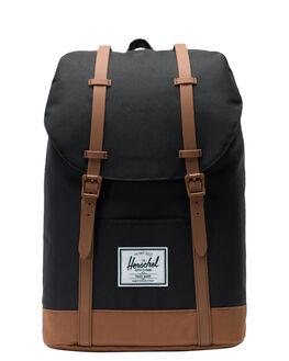 BLACK SADDLE BROWN MENS ACCESSORIES HERSCHEL SUPPLY CO BAGS + BACKPACKS - 10066-02462-OSBSB
