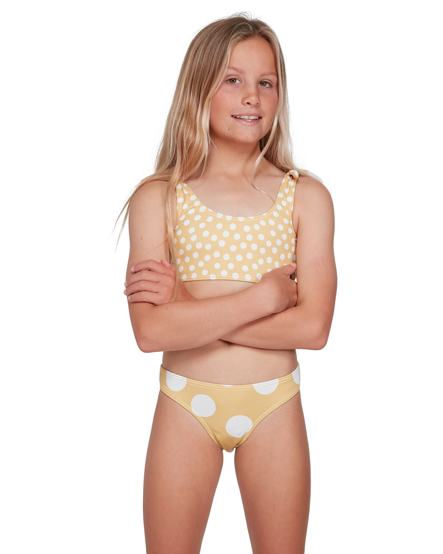 Kids//Girls Blue Swimsuit With Multi-Colour Spots//Dots Ruffle Detail Size 3-12Yrs