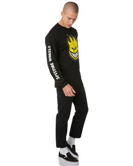 BLACK MENS CLOTHING SPITFIRE TEES - 52010069BLK