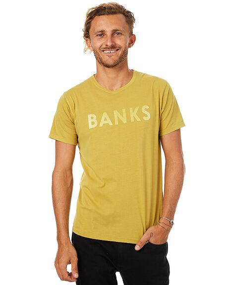 MUSTARD YELLOW MENS CLOTHING BANKS TEES - WTS0153MYL