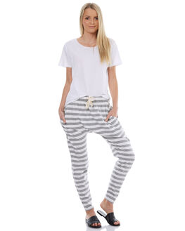 GREY WHITE STRIPE WOMENS CLOTHING SILENT THEORY PANTS - 6008041STR