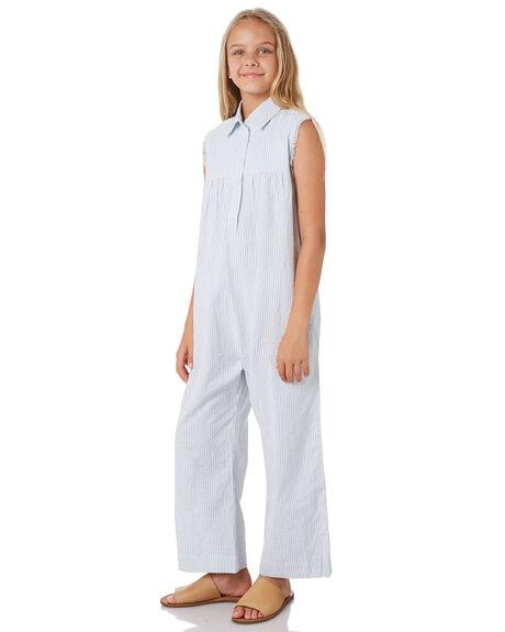 BLUE PINSTRIPE KIDS GIRLS FEATHER DRUM DRESSES + PLAYSUITS - FD37BLUPN