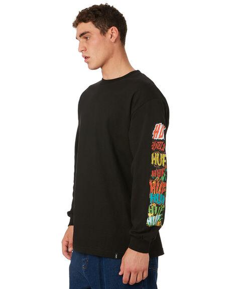 BLACK MENS CLOTHING HUF TEES - TS00376-BLACK
