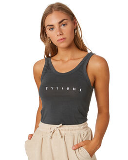 MERCH BLACK WOMENS CLOTHING THRILLS SINGLETS - WTS9-101MBBLK