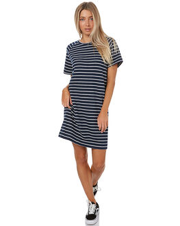 NAVY WHITE STRIPE WOMENS CLOTHING SWELL DRESSES - S8173550NVYS
