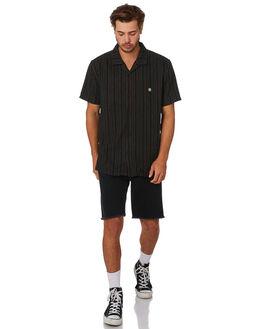 BLACK MENS CLOTHING STUSSY SHIRTS - ST092403BLK