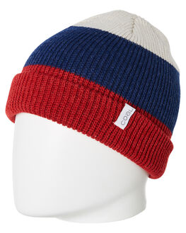 HEATHER RED STRIPE MENS ACCESSORIES COAL HEADWEAR - 207821HRS
