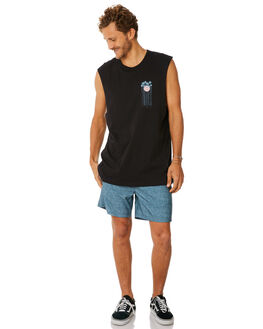 BLACK MENS CLOTHING HURLEY SINGLETS - AO8820010