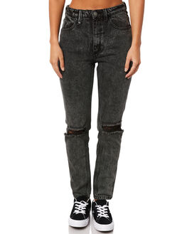 STONED BLACK WOMENS CLOTHING THRILLS JEANS - WTDP-412SBSTBLK