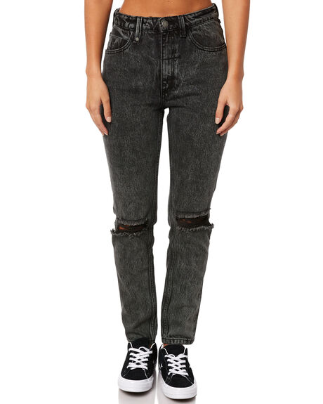 STONED BLACK OUTLET WOMENS THRILLS JEANS - WTDP-412SBSTBLK