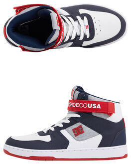 WHITE/NAVY/RED MENS FOOTWEAR DC SHOES SNEAKERS - ADYS400038-WNR