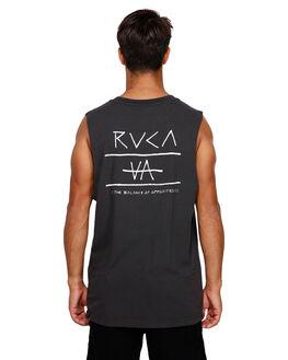 BLACK MENS CLOTHING RVCA SINGLETS - RV-R191006-BLK