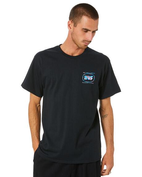 BLACK MENS CLOTHING HUF TEES - TS01262-BLACK