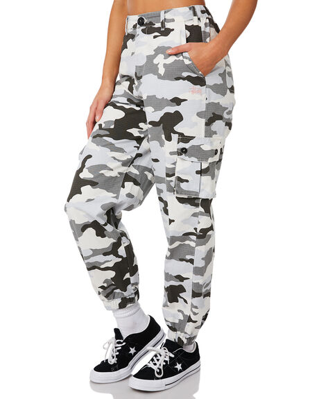 WHITE CAMO WOMENS CLOTHING STUSSY PANTS - ST183617WHI