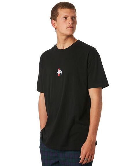 BLACK MENS CLOTHING STUSSY TEES - ST073014BLK