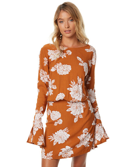 TERRACOTTA FLORA WOMENS CLOTHING RUE STIIC DRESSES - BC20TERF