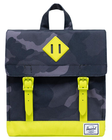 NIGHT CAMO LIME KIDS BOYS HERSCHEL SUPPLY CO BAGS + BACKPACKS - 10142-04087-OSNCMO