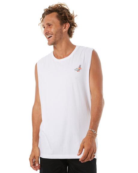 WHI MENS CLOTHING RVCA SINGLETS - R172012WHT