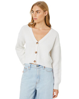 WHITE WOMENS CLOTHING STUSSY KNITS + CARDIGANS - ST106305WHITE