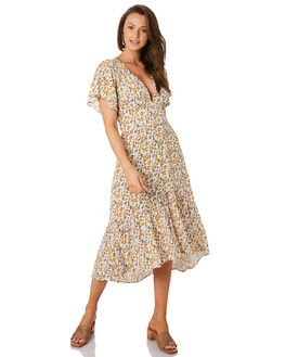 DESERT FLORAL YELLOW WOMENS CLOTHING RUE STIIC DRESSES - RWS-19-21-1DSRTY