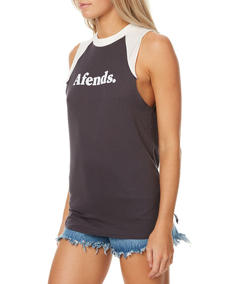 CHARCOAL NATURAL WOMENS CLOTHING AFENDS SINGLETS - 50-03-023CHR