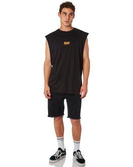 BLACK MENS CLOTHING RVCA SINGLETS - R182019BLK