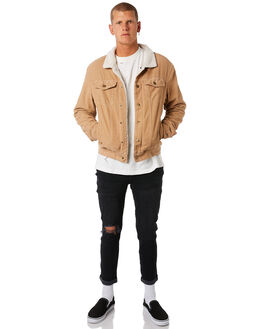 OVERDYED TAN MENS CLOTHING THRILLS JACKETS - TDP-227COTAN